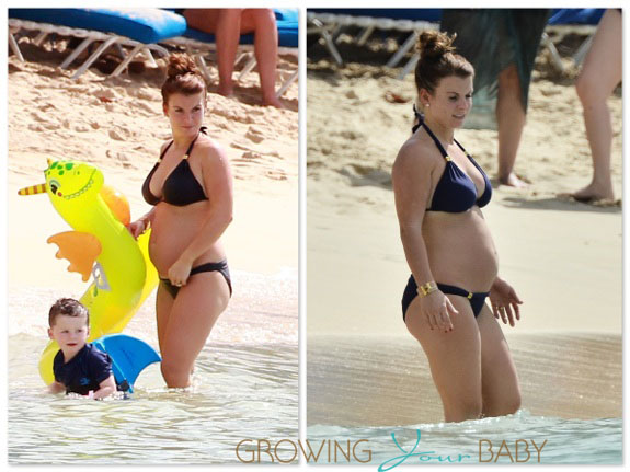 Pregnant Coleen Rooney  with son Kai at the beach in Barbados