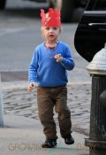 Samuel Kai Schreiber wears a crown marked 'Kai 4' out and about on his 4th birthday in NYC with Naomi Watts and Liev Schreiber