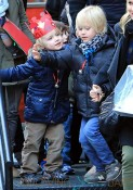 Liev Schreiber and Naomi Watts picks up Alexander and Samuel from school on Samuel's 4th birthday in NYC