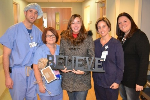 Stacy Martinez (center) is shown with (from left) medical staff members Jason Ramaker, Kim Federico, Jessica Jenkins and Kelley Thompson, during a recent reunion at Franciscan St. Anthony Health-Crown Point. Not pictured is Sheila Steward.?