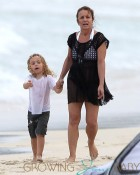 Tina Simpson Takes Grandson Bronx For A Walk On The Beach