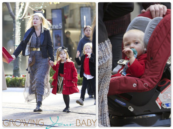 Tori Spelling with kids Hattie, Liam and Stella McDermott visiting Santa