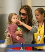Victoria Beckham and Harper Seven Beckham Arrive at LAX Airport
