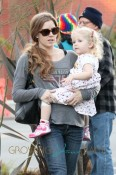 **EXCLUSIVE** Amy Adams, wearing a Van Halen t-shirt, daughter Aviana and a mystery male friend are spotted out doing some shopping together in Los Angeles