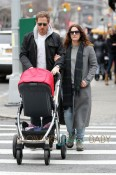 Actress Drew Barrymore and husband Will Kopelman spend the afternoon shopping in New York City with baby Olive
