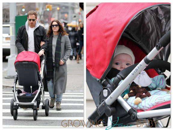 Drew Barrymore and husband Will Kopelman stroll with baby Olive