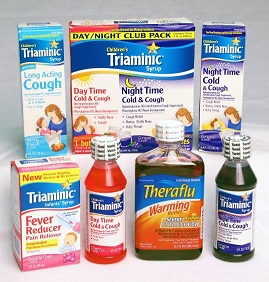 Image of recalled Triaminic® Syrups and Theraflu Warming Relief® Syrups