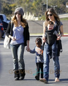 Jillian Michaels, Lukensia Michaels, Phoenix Rhoades and Heidi Rhoades at the farmer's market in Malibu