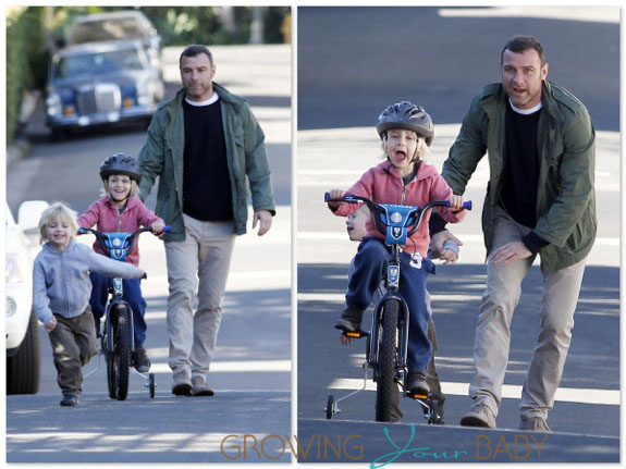 Liev Schreiber takes his son Sasha Bike riding in LA