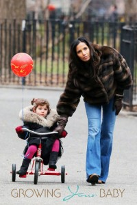 Actress Padma Lakshmi picks up her cheerful  daughter Krishna Thea Lakshmi from a birthday party in New York City