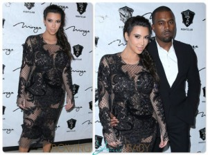 Pregnant Kim Kardashian and Kayne West ring in the new year at the Mirage in Las Vegas