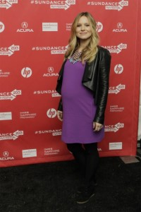 Pregnant Kristen Bell at the Lifeguard premiere Sundance