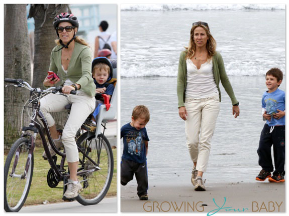 Sheryl Crow At The Beach With Her Boys Wyatt and Levi