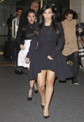 Sisters Kim and Kourtney Kardashian leaving the 'Today Show' in New York where they are promoting their new show 'Kim and Kourtney Take Miami'