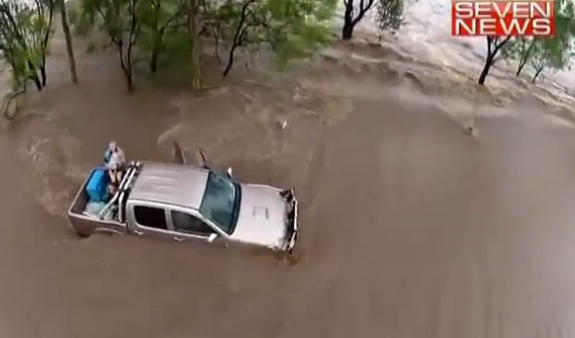 Toddler rescue from floods Australia