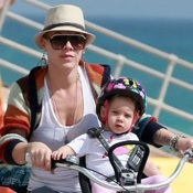 Pink & Carey Hart Bike in Florida With Willow