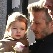 David & Harper Beckham Support Victoria at NYFW