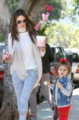 Alessandra Ambrosio and husband Jamie Mazur have a busy Valentine's Day as they drop daughter Anja off at school before doing some house hunting together