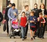David Beckham seen pushing daughter Harper in her pram