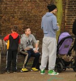 David Beckham takes his children Romeo, Brooklyn, Cruz and Harper to the park to play football
