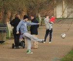 David Beckham takes his children to the park in London to have a kickaround