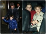 David Beckham with his son Cruz, Romeo and Brooklyn in London