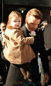 David Beckham and his girl Harper coming out of Balthazar in NYC