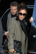Victoria Beckham and her husband David Beckham arrive at Balthazar Restaurant in New York City