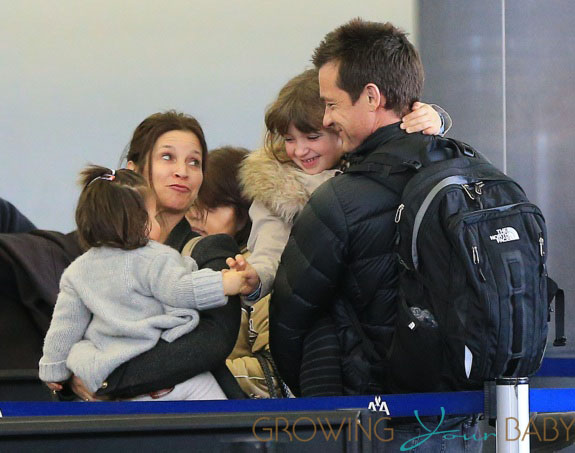 Jason Bateman, wife Amanda, and daughters Francesa and Maple at JFK Airport in NYC