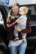 Jennifer Garner takes her children Seraphina and Samuel, with the help of a nanny, to Jenny Bec's toy shop in Los Angeles