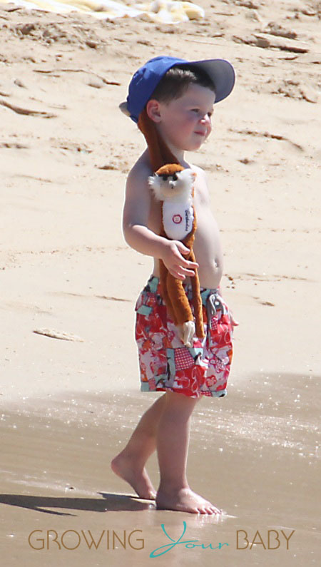 Coleen Rooneys' son Kai sports a monkey attached to his hat while at the beach.