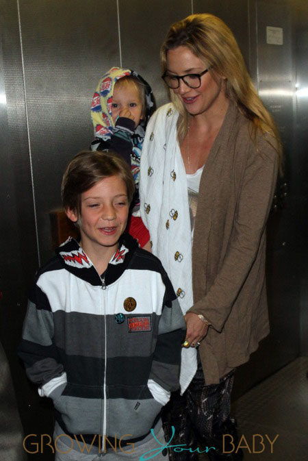 Kate Hudson with sons Ryder and Bingham arriving at LAX