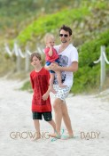 Matt Bellamy Takes Son Bing And Step-Son Ryder To The Beach In Miami