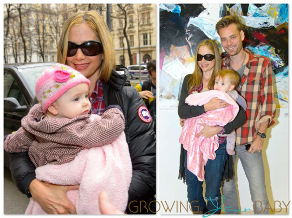 Mira Sorvino and her husband Christopher Backus take their daughter Lucia on a vacation in Vienna