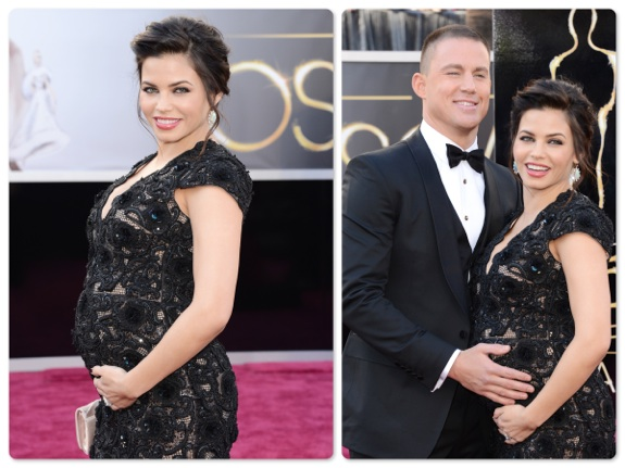 Pregnant Jenna Dewan and Channing Tatum on the red carpet at the 85th Annual Academy Awards