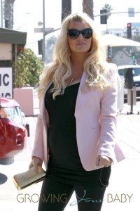 A pregnant Jessica Simpson and fiance Eric Johnson are seen arriving at The Ivy in Santa Monica for a Valentine's lunch date