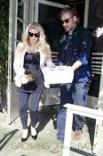 A pregnant Jessica Simpson and fiance Eric Johnson are seen leaving The Ivy in Santa Monica after having a Valentine's lunch date