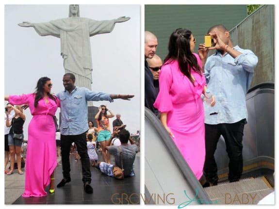 Pregnant Kim Kardashian and Kanye West in Brazil