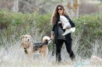 **EXCLUSIVE** Spanish actress & model Monica Cruz displays  her baby bump whilst taking her two dogs for a walk before picking up her car from the local garage in Madrid