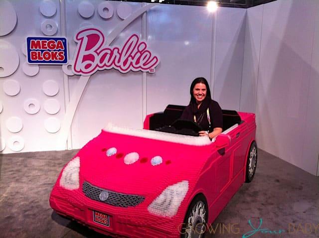 riding in the mega bloks barbie car at toy fair 2013