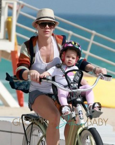Pink Enjoys A Bicycle Ride With Her Family