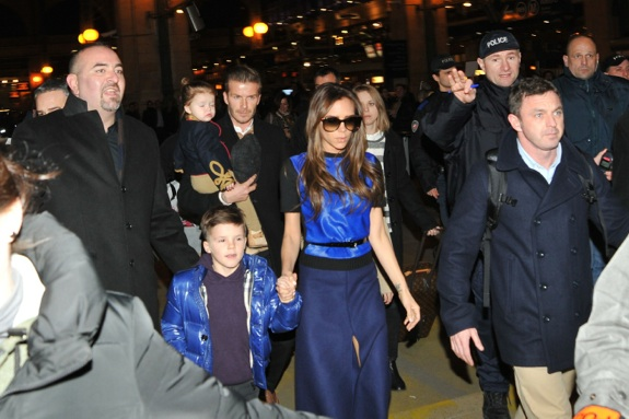 David Beckham and wife Victoria Beckham arrive at Gare du Nord railway station with their children Romeo, Brooklyn, Cruz and Harper