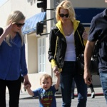 January Jones Lunches With Her Little Super Hero