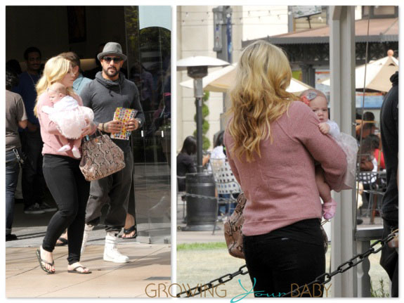 AJ McLean and wife Rochelle take their baby Ava Jaymes to the Bunny Hut at the Grove
