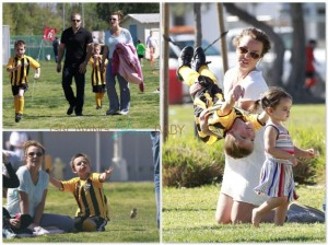 Britney Spears with boys Sean and Jayden at Soccer practice