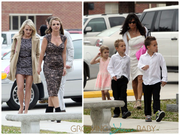 Britney and Jamie-lynn spears attend Easter Service with their kids in Louisiana