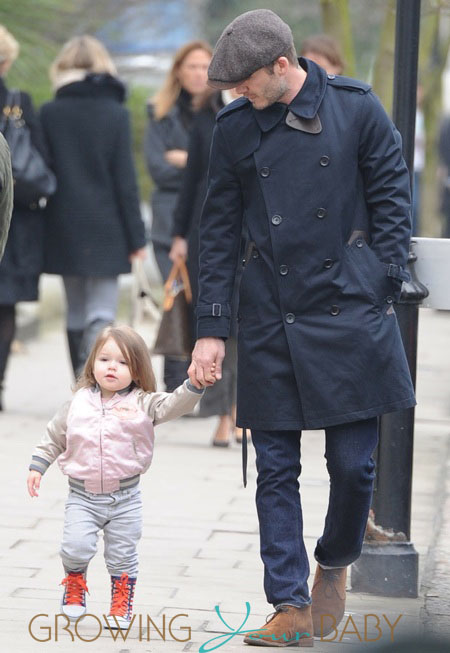 David Beckham & daughter Harper out in London