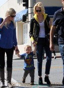 January Jones and baby Xander strolling hand-in-hand in Los Angeles