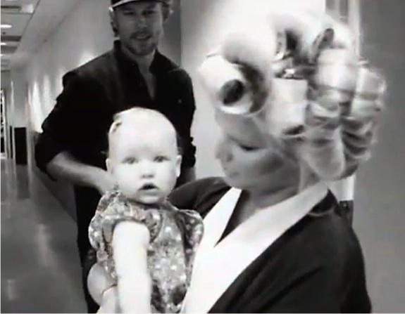 Jessica Simpson & Eric Johnson on the set of Fashion Star with daughter Maxwell