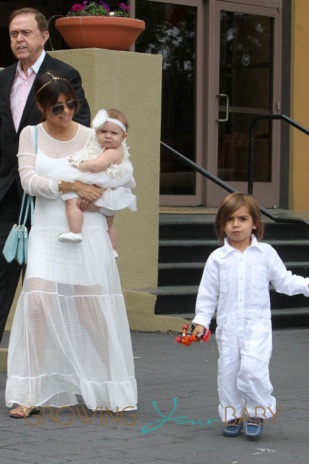 Kourtney Kardashian takes Mason and Penelope to Church on Easter Day where they are joined by Kendall, Kylie and Kris Jenner in Los Angeles